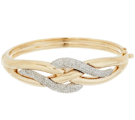 14K Gold 1.00 ct tw Diamond Swirl Design Large Bangle