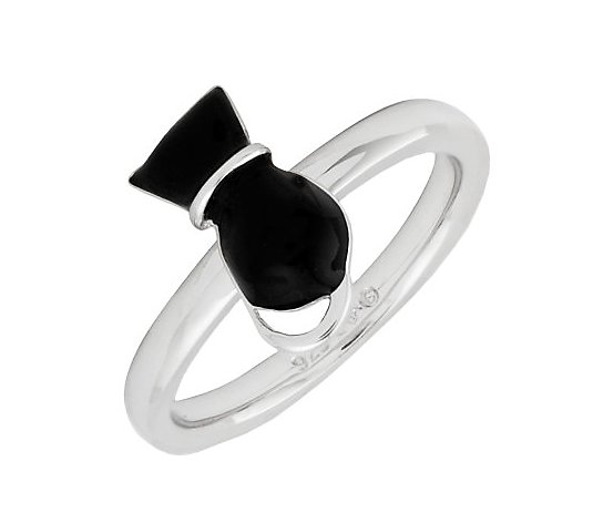 Simply Stacks Sterling Polished Black Epoxy Enamel Cat Ring