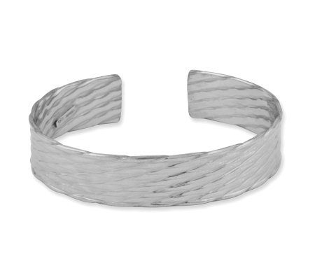 Sterling Textured Oval Cuff Bracelet