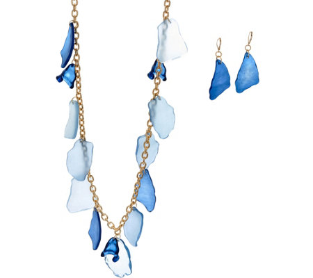 Linea by Louis Dell'Olio Beach Glass Necklace and Earring Set