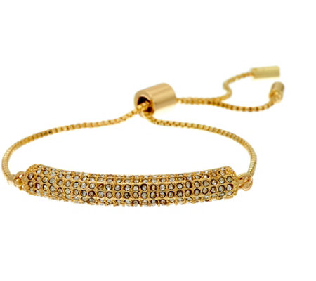 """As Is"" H. by Halston Adjustable Bracelet w/Pave Crystal Station"