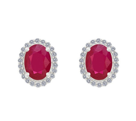 Premier 8x6mm Oval Ruby Diamond Halo Stud Earrings 14k
