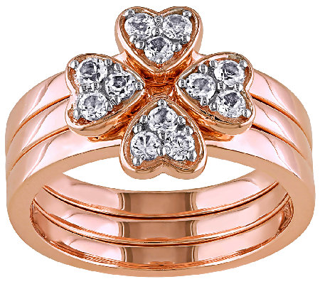 1/2cttw White Topaz Floral Stack Ring Set, Sterling & Bronze