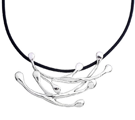Hagit Sterling Silver & Leather Necklace