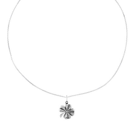 "Sterling Oxidized Four-leaf Clover Pendant w/ 18"" Necklace"
