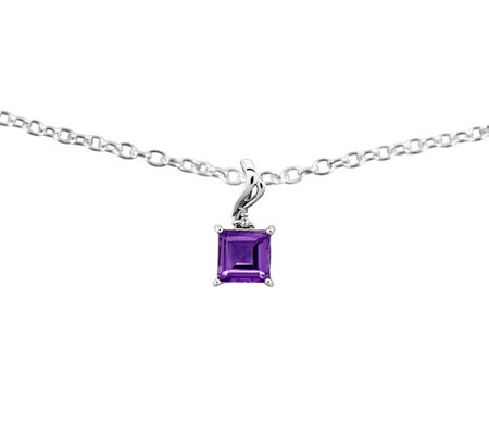 "Sterling Square-shaped Gemstone Pendant w/18"" Chain"
