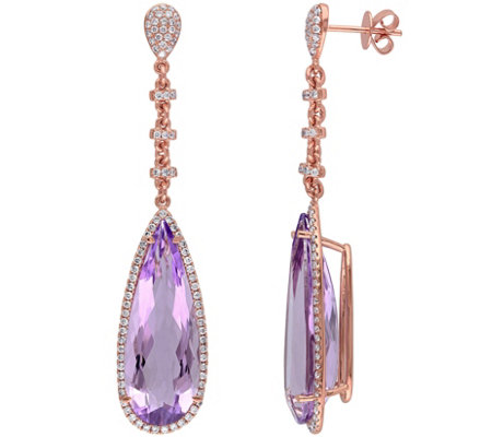 19.90 cttw Amethyst & 8/10 cttw Diamond DangleEarrings, 14K