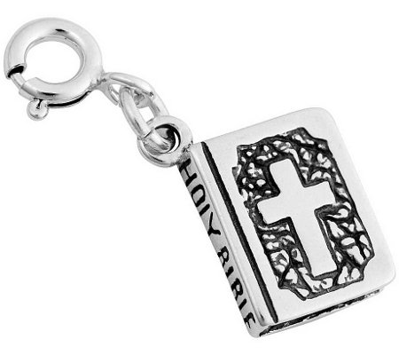 Sterling Two-Sided Bible Charm