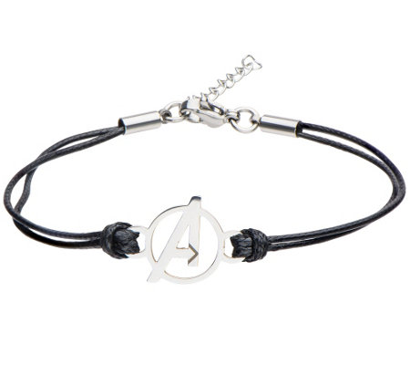 "Marvel Stainless Avengers ""A"" Logo Black Leather Bracelet"