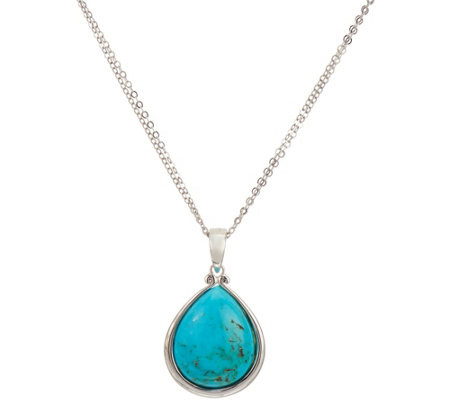 "Kingman Turquoise Pear Shaped Sterling Pendant with 18"" Chain"