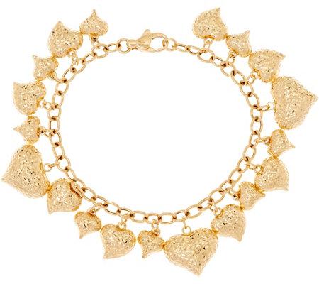 Italian Gold 8 Heart Charm Bracelet 14k