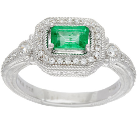 Judith Ripka Sterling Silver 0.45 ct Zambian Emerald Ring