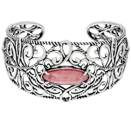 """As Is"" Carolyn Pollack Sterling Silver Rhodochrosite Cuff Bracelet"