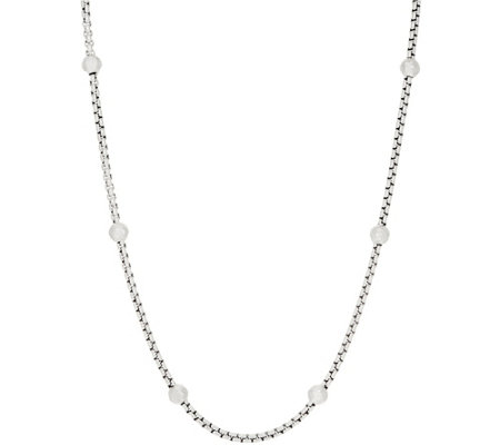 "JAI Sterling Silver Station 3.7mm Box Chain 18"" Necklace, 30.5g"