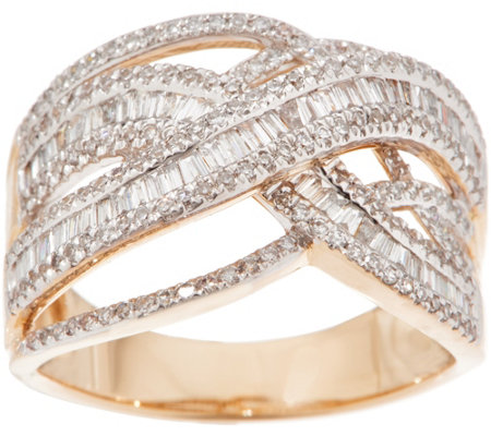 Diamond Crossover Ring, 3/4 cttw, 14K, by Affinity
