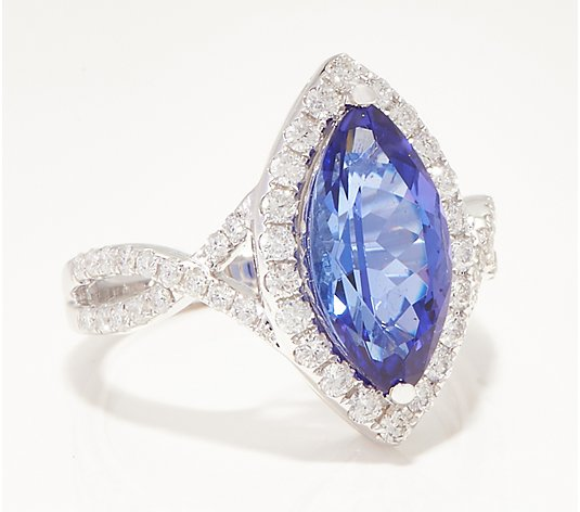 Marquise-Cut Tanzanite & Diamond Ring, 2.35 cttw 14K Gold