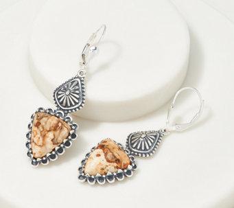 American West Gemstone Triangle Sterling Silver Earrings - J364877