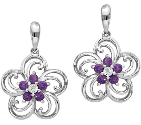 14K White Gold Gemstone & Diamond Accent Floral Earrings