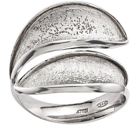 Sterling Bypass Textured Adjustable Ring by Silver Style