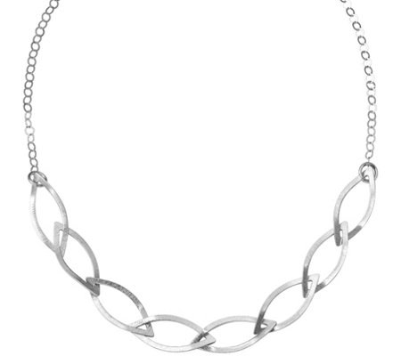 Sterling Diamond Shaped Links Necklace, 11g b ySilver Style