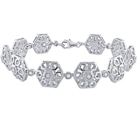 Hexagon Link Diamond Bracelet, Sterling, 1/5 cttw, by Affinit