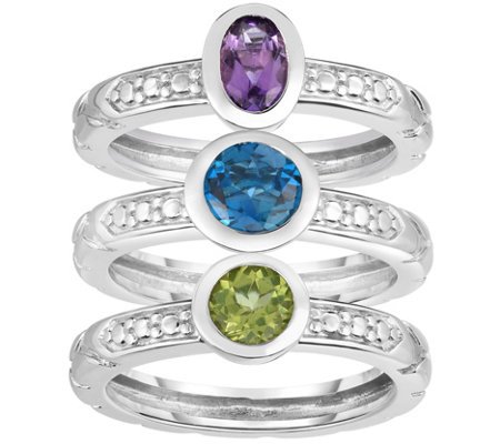 Sterling 1 50 Cttw Gemstone Set Of 3 Stack Rings