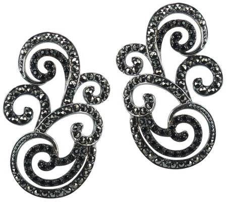 Suspicion Sterling Black Spinel & Marcasite Swirl Earrings