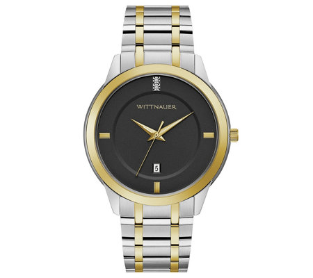 Wittnauer Men S Two Tone Black Dial Diamond Accent Watch