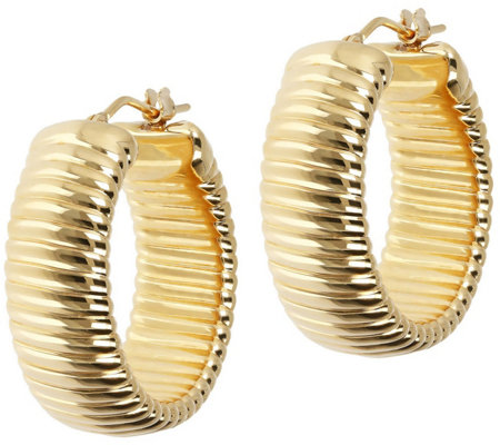 Oro Nuovo Polished Ribbed Round Hoop Earrings,14K Gold