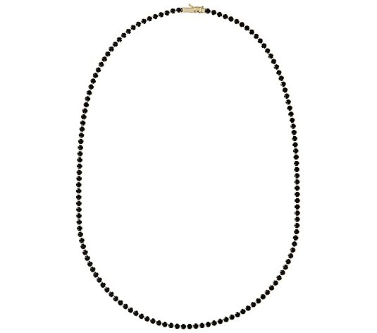 "Italian Gold 9.00 cttw Black Spinel 18"" Tennis Necklace, 14K"