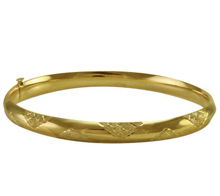 "EternaGold 7"" Cross-Hatch Pattern 14K Gold TubeBangle"