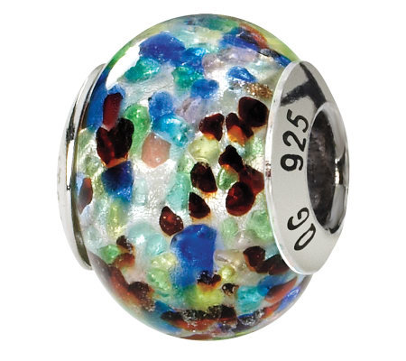 Prerogatives Sterling Blue/Red Italian Murano Glass Bead