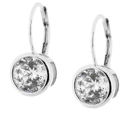 Diamonique 100 Facet Lever Back Earrings, Platinum Clad