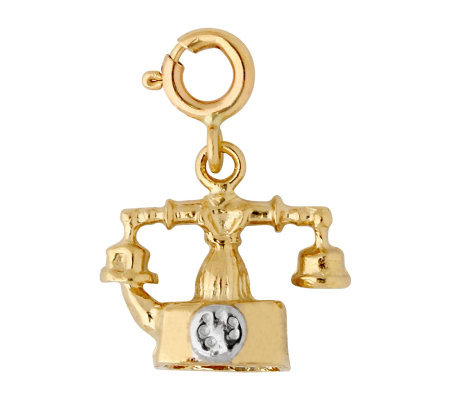 14K Yellow Gold Two-tone Telephone Charm