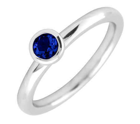 Simply Stacks Profile 4mm Round CreatedSapphireSolitaire Ring