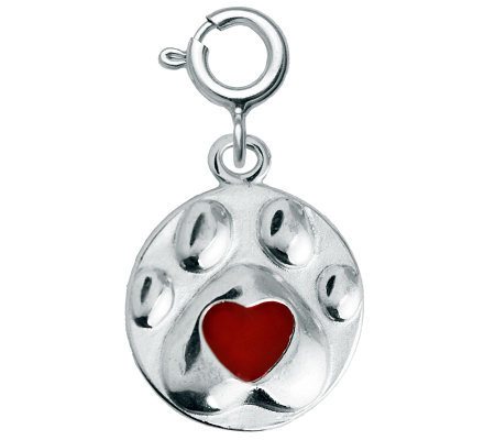 Sterling Dog Paw Red Epoxy Enamel Heart Charm