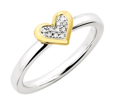 Simply Stacks Sterling Two-Tone Diamond Heart Ring