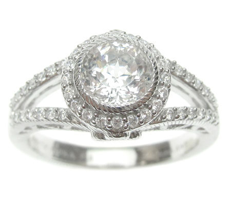 Judith Ripka Sterling Diamonique Round Halo Ring