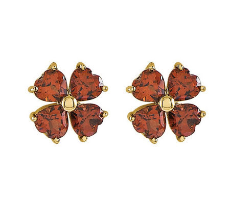 Choice of Flower Gemstone Stud Earrings, 14K Go ld