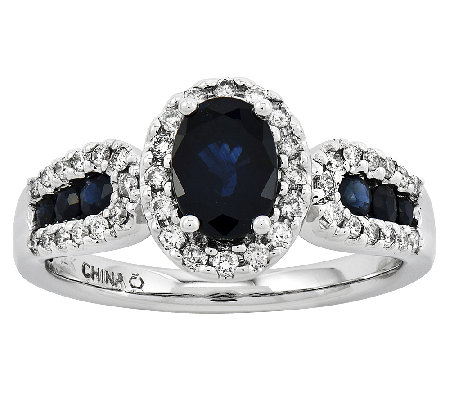 Oval Gemstone and 1/6 ct tw Diamond Ring, 14K W hite Gold