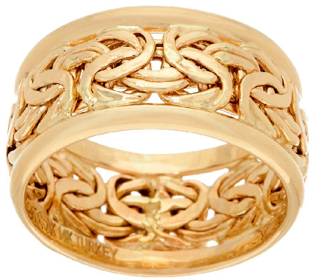 14K Gold Byzantine Inlay Band Ring Page 1 — QVC