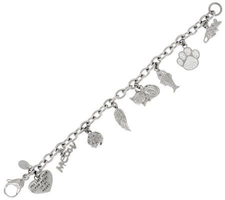 Stainless Steel Cat Motif Charm Bracelet