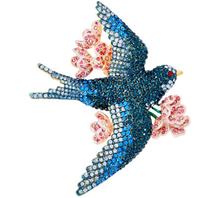 Joan Rivers Pave' Bluebird of Happiness Brooch