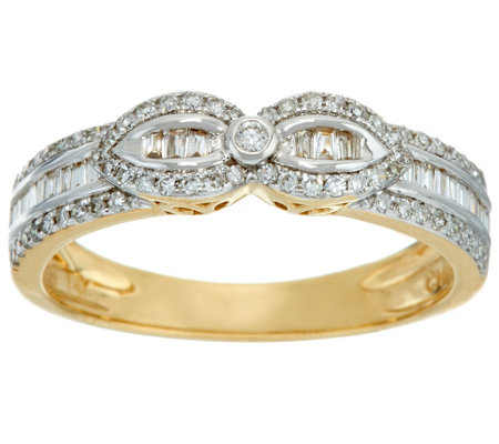 Baguette & Round Diamond Band Ring, 14K, 1/3 cttw, by Affinity