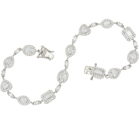 Diamonique Multi-Cut Halo Bracelet, Sterling