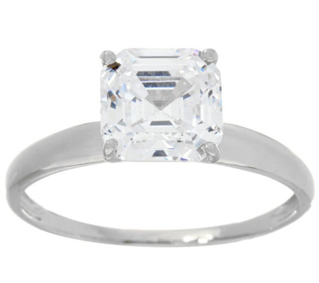 Diamonique 2.00 cttw Solitaire Ring, 14K White Gold