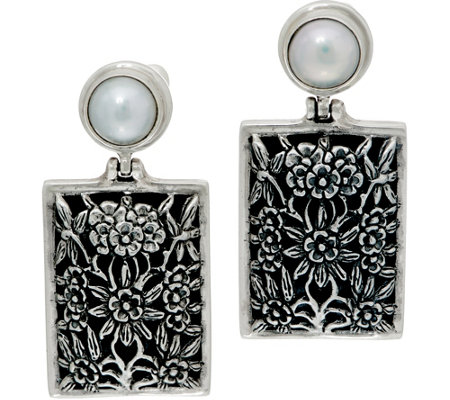 EXEX by Claudia Agudelo Sterling Silver Cultured Pearl Floral Earrings