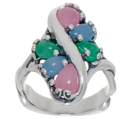 Carolyn Pollack Sterling Silver Six Stone Jade Cabochon Ring