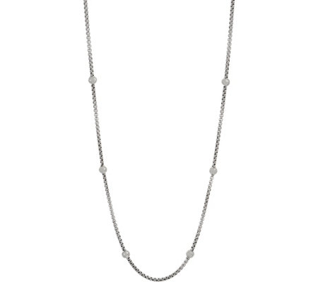 "JAI Sterling Silver Station 3.7mm Box Chain 36"" Necklace, 57.2g"