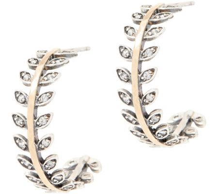Or Paz Sterling Silver 14k Gold Leaf Design Hoop Earrings